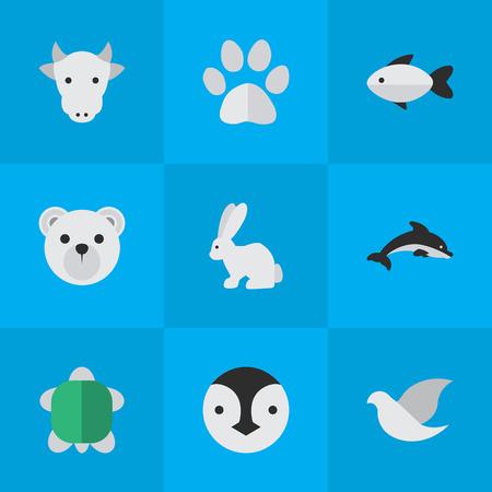 Vector Illustration Set Of Simple Animals Icons. Elements Tortoise, Panda , Kine Synonyms Panda, Paw And Milk.