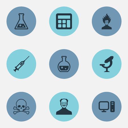 벡터 일러스트 레이 션 간단한 지식 아이콘의 집합입니다. 성분 약리학, 계산법, 주사기 및 다른 동의어 미친, 실험실 및 천재.