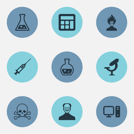 Vector Illustration Set Of Simple Knowledge Icons. Elements Pharmacology, Reckoning, Syringe And Other Synonyms Mad, Laboratory And Genius. Ilustracja