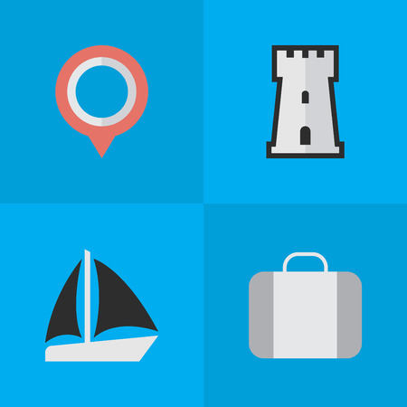 Vector Illustration Set Of Simple Travel Icons. Elements Bag, Schooner, Mark And Other Synonyms Schooner, Location And Castle.