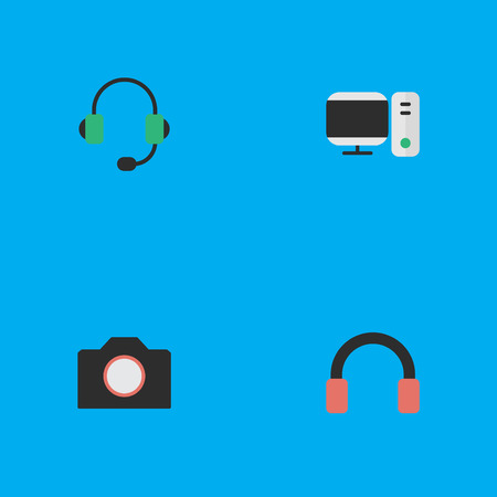 Vector Illustration Set Of Simple Gadget Icons. Elements Photo Apparatus, Microphone, PC And Other Synonyms Camera, Apparatus And PC.
