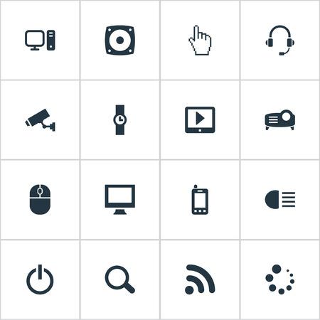 벡터 일러스트 레이 션 간단한 장치 아이콘의 집합입니다. 요소 PC, 대기, 터치 패드 및 기타 동의어 PC, 헤드셋 및 지원.