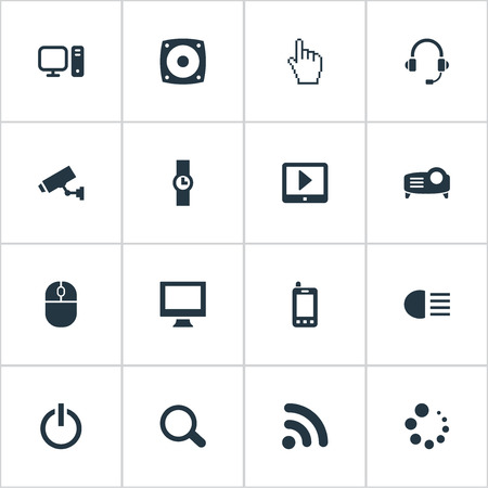 Vector Illustration Set Of Simple Device Icons. Elements PC, Waiting, Touchpad And Other Synonyms PC, Headsets And Support.