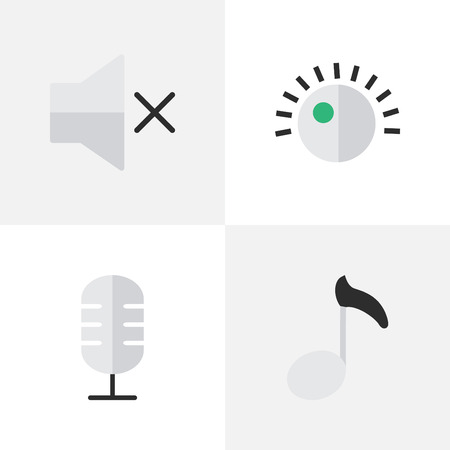 Vector Illustration Set Of Simple Melody Icons. Elements Regulator, Note, Microphone And Other Synonyms Microphone, Sound And Music.