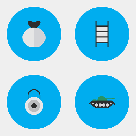 Vector Illustration Set Of Simple Criminal Icons. Elements Lock, Military, Stairs And Other Synonyms Climbing, Bag And Military. Illusztráció