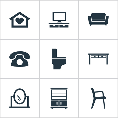 Vector Illustration Set Of Simple Furnishings Icons. Elements Cupboard, Office Interior, Bathroom And Other Synonyms Chest, Vanity And Telly.
