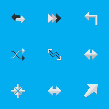 Vectorillustratiereeks Eenvoudige Cursorpictogrammen. Elementen altijd, indicator, pijl en andere synoniemen, links, binnen en chaotisch. Stock Illustratie