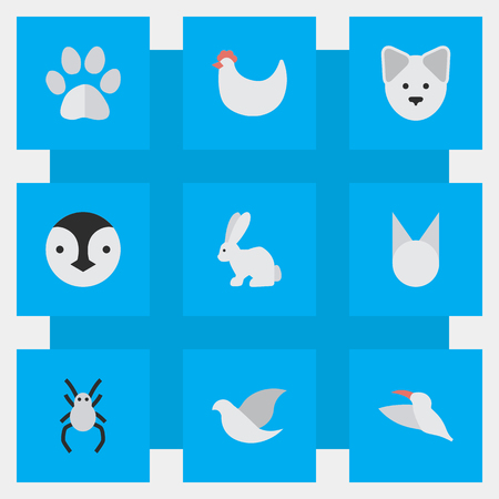 Vector Illustration Set Of Simple Fauna Icons. Elements Cat, Cock, Tarantula And Other Synonyms Tarantula, Hen And Cock. Ilustração