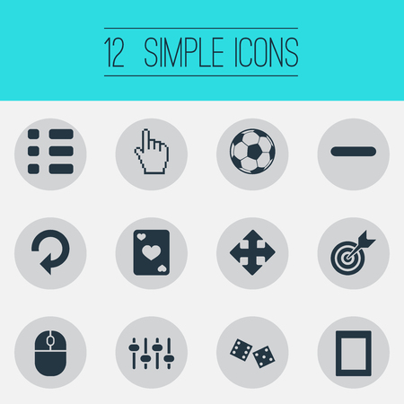 Vector Illustration Set Of Simple Leisure Icons. Elements Touch Screen, Tasks, Device And Other Synonyms Arrow, Pointer And Reload. Ilustração