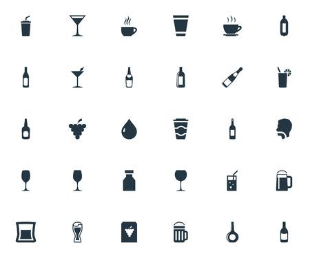 Illustrazione vettoriale Set di icone di bevanda semplice. Elementi Lager, Vodka, Cappuchino e altri sinonimi Uva, Bere e Tiro. Archivio Fotografico - 82751154