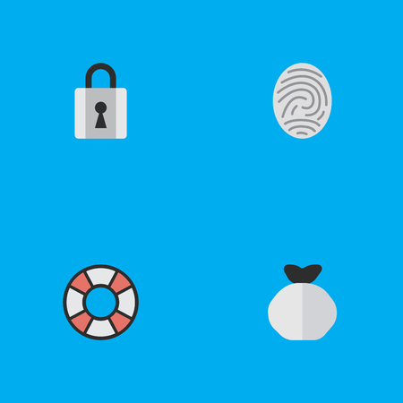 Vector Illustration Set Of Simple Criminal Icons. Elements Moneybox, Lifesaver, Bioskyner And Other Synonyms Protection, Money And Lock.