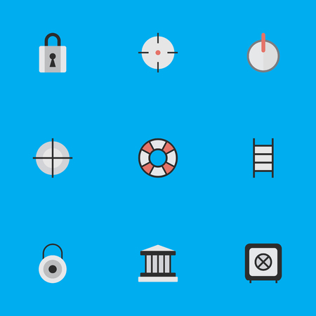 Vector Illustration Set Of Simple Crime Icons. Elements Closed, Stairs, Lock And Other Synonyms Lock, Grille And Target. Illustration