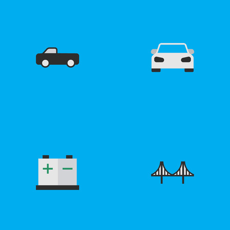 Vector Illustration Set Of Simple Traffic Icons. Elements Sport, Bridgework, Accumulator And Other Synonyms Bridge, Bridgework And Suv. Illustration