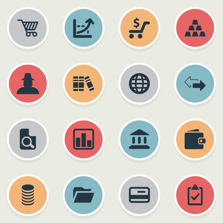Vector Illustration Set Of Simple Investment Icons. Elements Store Cart, Bullion, Supervision List And Other Synonyms Flow, Parthenon And Thief.