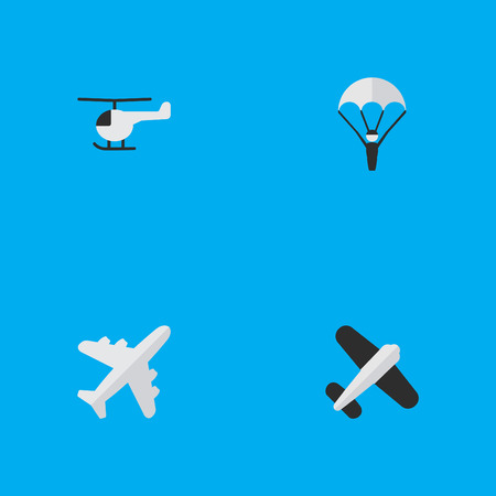 Vector Illustration Set Of Simple Airplane Icons. Elements Catapults, Aviation, Aircraft And Other Synonyms Man, Copter And Chopper.