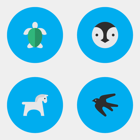 Vector Illustration Set Of Simple Animals Icons. Elements Steed, Turtle, Sparrow And Other Synonyms Tortoise, Bird And Turtle.