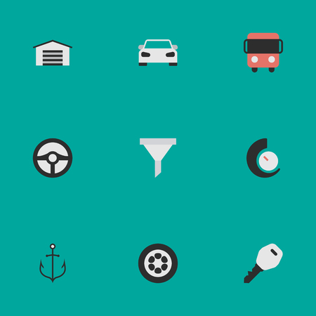 Vector Illustration Set Of Simple Shipping Icons. Elements Autobus, Open, Armature And Other Synonyms Chronometer, Counter And Lock.