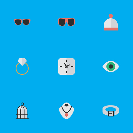 Vector Illustration Set Of Simple Equipment Icons. Elements Glasses, Jewelry, Eye Accessory And Other Synonyms Choker, Hat And Wear.
