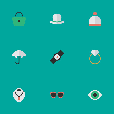 Vector Illustration Set Of Simple Instrument Icons. Elements Wristwatch, Engagement, Woman Bag And Other Synonyms Time, View And Fedora.
