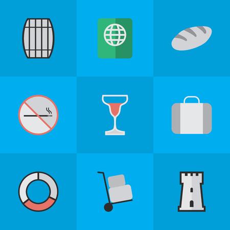 単純な旅行アイコンのベクター イラスト セット。要素のワイン、バッグ、タワー、他の類義語パン屋さん、救命浮環、防衛。  イラスト・ベクター素材
