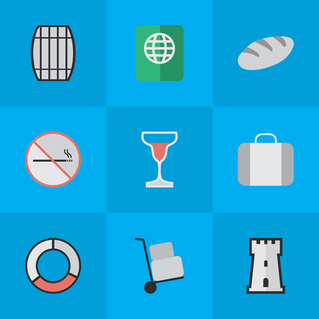 Vector Illustration Set Of Simple Travel Icons. Elements Wine, Bag, Tower And Other Synonyms Bakery, Lifebuoy And Defence. Illustration
