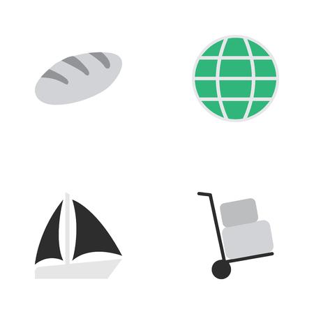 Vectorillustratiereeks Eenvoudige Vakantiepictogrammen. Elementen schoener, lading, wereld en andere synoniemen Cargo, zeilboot en planeet.