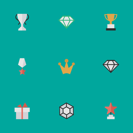 Vector Illustration Set Of Simple Champion Icons. Elements Corona, Present, Champion And Other Synonyms Crown, Coronet And Precious. Illustration