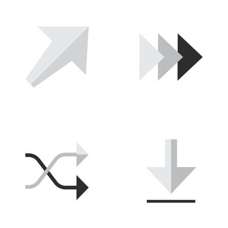 Vector Illustration Set Of Simple Cursor Icons. Elements Southwestward, Onward, Loading And Other Synonyms Southwest, Ahead And Southwestward.