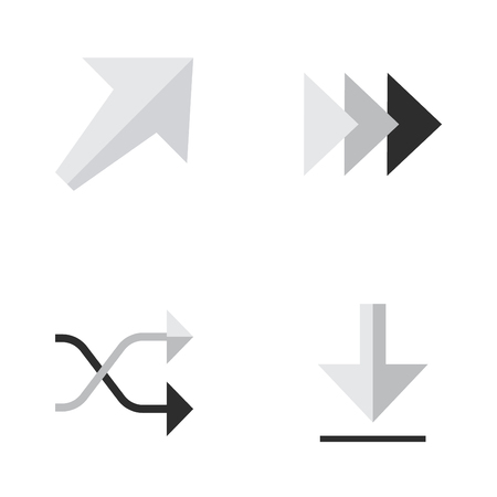Vector Illustration Set Of Simple Cursor Icons. Elements Southwestward, Onward, Loading And Other Synonyms Southwest, Ahead And Southwestward.