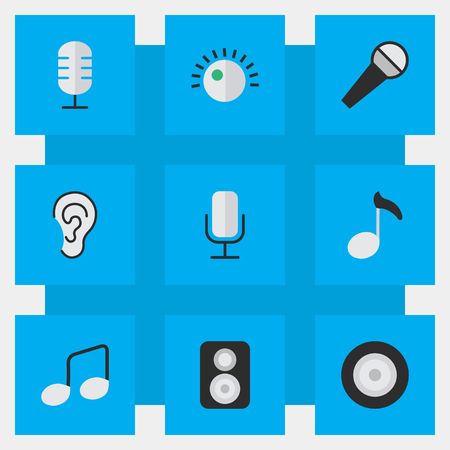 Vector Illustration Set Of Simple Music Icons. Elements Loudspeaker, Microphone, Record And Other Synonyms Mike, Sound And Sign.