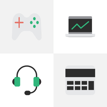 Vector Illustration Set Of Simple Devices Icons. Elements Notebook, Microphone, Gamepad And Other Synonyms Microphone, Gamepad And Statistics.
