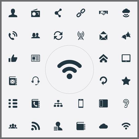 単純な通信アイコンのベクター イラスト セット。要素のディレクトリ、成功、パームトップなどの類義語ニュースに対処し、更新します。