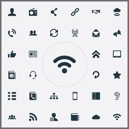 Vector Illustration Set Of Simple Communication Icons. Elements Directory, Success, Palmtop And Other Synonyms News, Address And Refresh.