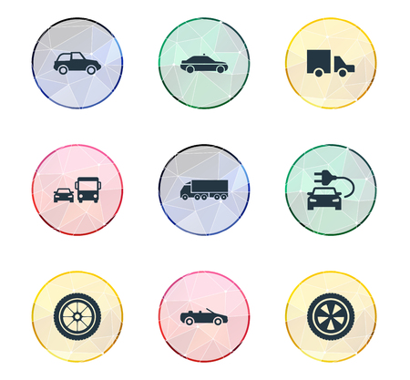 Vector Illustration Set Of Simple Auto Icons. Elements Siren, Cargo, Carting And Other Synonyms Carting, Race And Rotation.