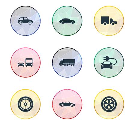 Vektor-Illustrations-Satz einfache Selbstikonen. Elemente Sirene, Ladung, Kartfahren und andere Synonyme Kartfahren, Rennen und Drehung. Standard-Bild - 82821651