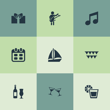 Vector Illustration Set Of Simple Banquet Icons. Elements Garland, Date, Wineglasses Synonyms Present, Calendar And Fresh.