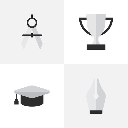 Vector Illustration Set Of Simple Knowledge Icons. Elements Academic Hat, Goblet, Measurement Dividers And Other Synonyms Pen, Hat And Graduation.