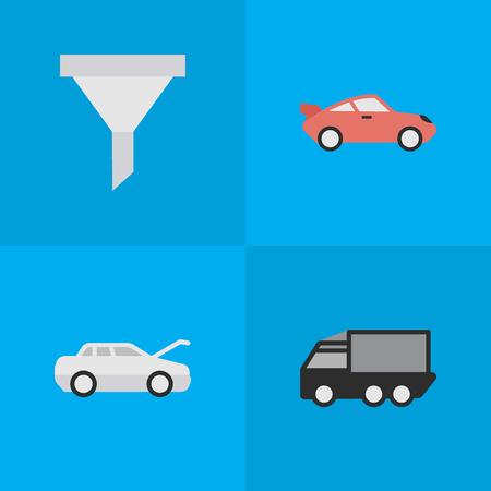 シンプルな交通アイコンのベクター イラスト セット。要素自動車、クーペ、トラック、その他類義語フィルター ストレーナーと車。  イラスト・ベクター素材