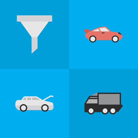 Vector Illustration Set Of Simple Traffic Icons. Elements Automobile, Coupe, Lorry And Other Synonyms Filter, Strainer And Car. Illustration