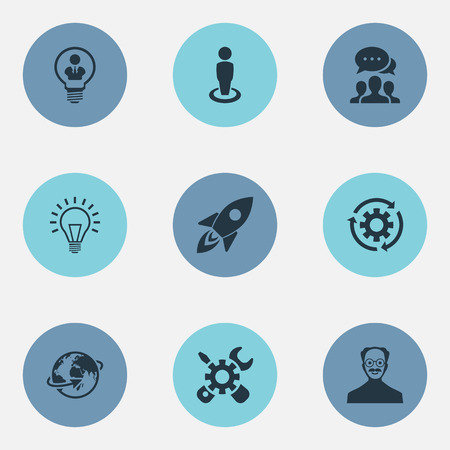 Vector Illustration Set Of Simple Creative Icons. Elements Renovation, Invention, Missile And Other Synonyms Invention, Recycle And Location.