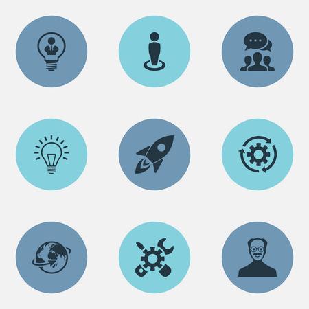 Vector illustratie Set van eenvoudige creatieve pictogrammen. Elementen Renovatie, Invention, Missile en andere synoniemen-uitvinding, Recycle en locatie. Stock Illustratie