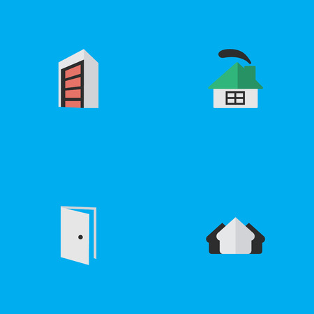 Vector Illustration Set Of Simple Estate Icons. Elements Property, Construction, Entry And Other Synonyms House, Building And Property. Illustration