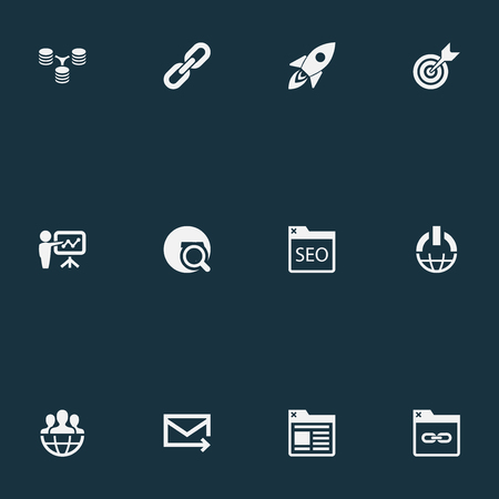 motor launch: Vector Illustration Set Of Simple SEO Icons. Elements Power Button, Target, Chain And Other Synonyms Cosmos, Command And Space.