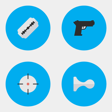 Vector Illustration Set Of Simple Crime Icons. Elements Target, Blade, Weapon And Other Synonyms Target, Gun And Razor.
