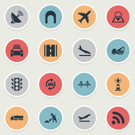 Vector Illustration Set Of Simple Transportation Icons. Elements Road, Golden Gate, Navigation And Other Synonyms Crane, Street And Landing.