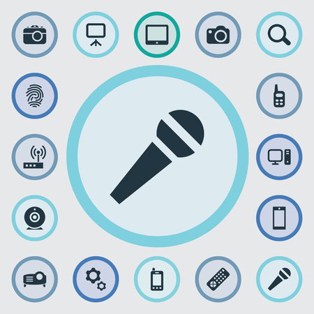 Vector Illustration Set Of Simple Gadget Icons. Elements Show, Projector, Fingerprint And Other Synonyms Options, Contact And Mobile.