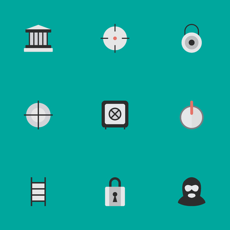 Vector Illustration Set Of Simple Offense Icons. Elements Closed, Safe, Criminal And Other Synonyms Maleficent, Target And Shot. Illustration