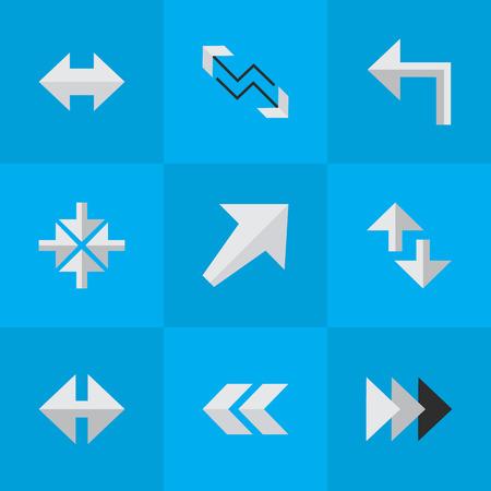 벡터 일러스트 레이 션 간단한 포인터 아이콘의 집합입니다. 내부 요소, 커서, 표시기 및 기타 동의어가 돌아서고 왼쪽 및 붐.