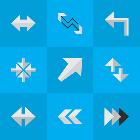 Vector Illustration Set Of Simple Pointer Icons. Elements Inside, Cursor, Indicator And Other Synonyms Turn, Left And Boom.