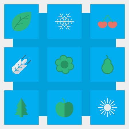 Vector Illustration Set Of Simple Garden Icons. Elements Fruit, Sun, Berry And Other Synonyms Apple, Punching And Sunny.